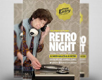 Retro Night Party Flyer