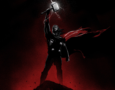 Thor: The Dark World illustrated poster - Thor