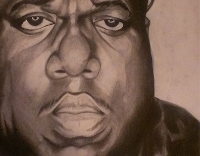 Charcoal Biggie Smalls Portrait