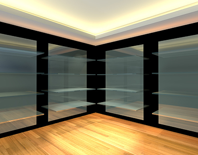 Glass shelves in empty room