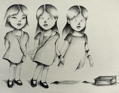 Creepy Week: Graphite on paper and wood