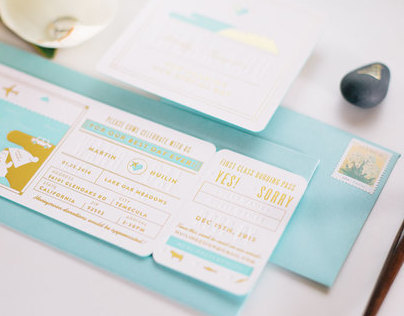 Gold and Mint Letterpress Wedding Invitation