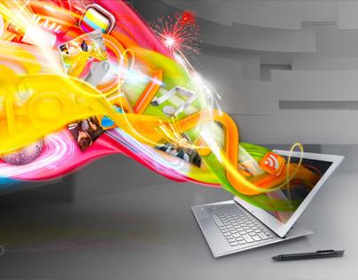 Sony Vaio laptop advert illustrations