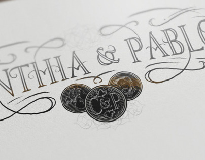 Lettering and illustration for wedding invitation card