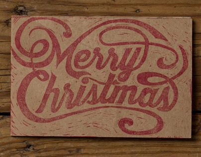 Hand Carved Merry Christmas Stamp
