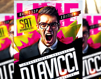 Electro House Music Flyer Template PSD