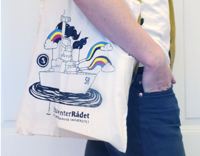 Battleship shooting rainbows // tote bag