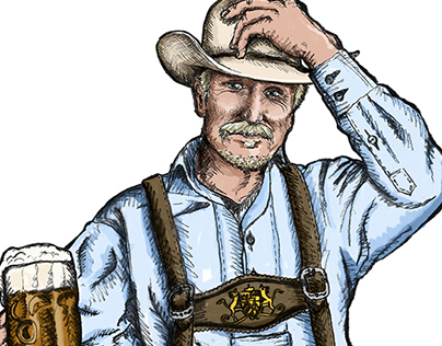 Oktoberfest Cowboy Illustration