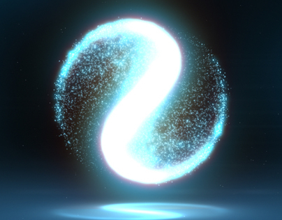 Glowing Circular Yin Yang Particle Background