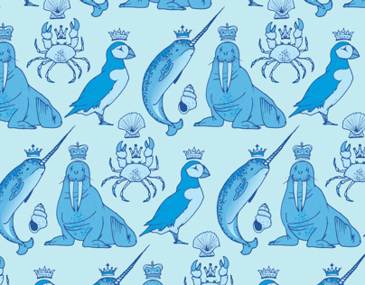 Royal Arctic Animals Repeat Pattern