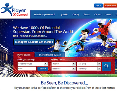 Player Connect Website Design