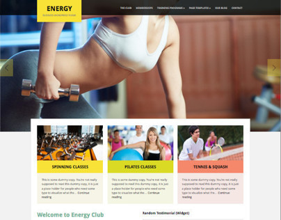 Energy WordPress Gym or Fitness Theme