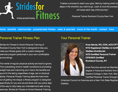 Strides For Fitness - Website Design