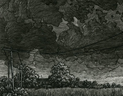 """Another Storm,"" 3 x 6 in, Pen and Ink, 2013"
