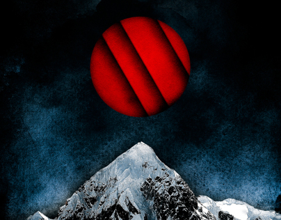 Red Peaks Surreal Pop Digital Art