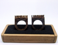 a pair of wooden rings