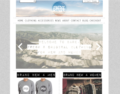 BARE Fashion - Apparel, Identity & Website