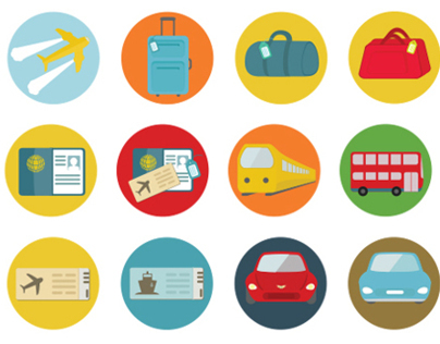 Travel and transportation flat icons