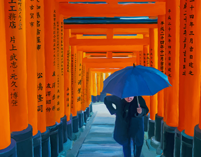 Torii Gates at Fushimi Inari Shrine in the Rain