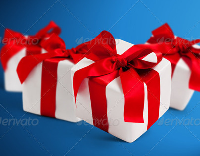 4 Gift Boxes with Shadows Photorealistic Isolated PSD