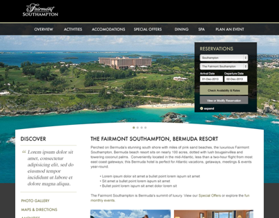 Fairmont Hotels Property Landing Page Designs