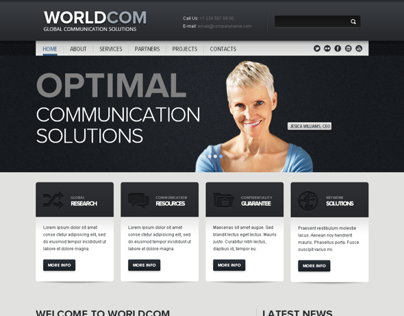 World Com Business Twitter Bootstrap HTML Template