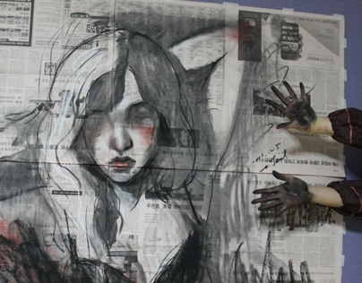 drawings on newspaper 2