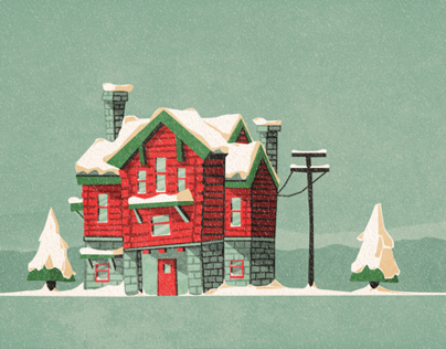 Log cabin christmas card