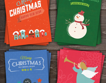 Retro xMas Greeting Card Pack #1