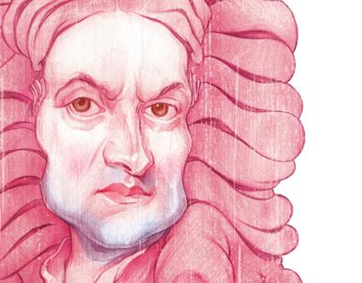 Isaac Newton illustration Portrait