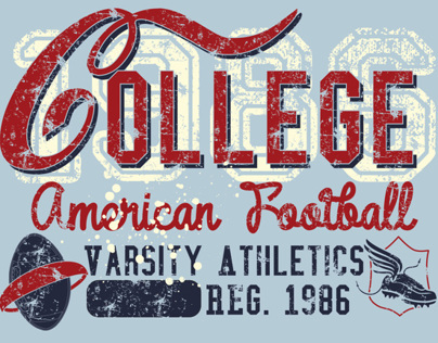 american college retro style vector art