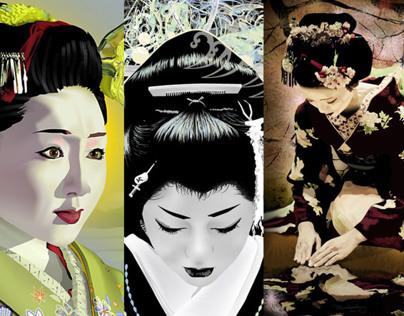 Geisha digital portraits by K. Fairbanks