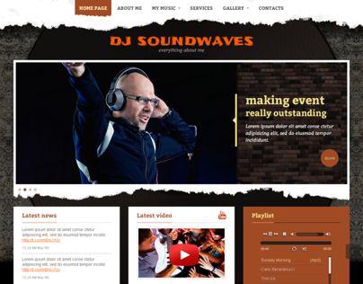 Dj Sound Waves Music Twitter Bootstrap HTML Template