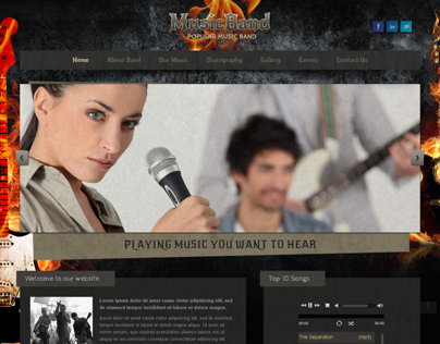 Fire Music Band Bootstrap HTML Template 300111765