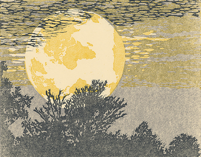 To the Moon and Back linocut