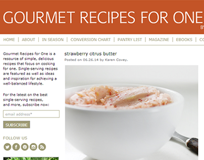 Gourmet Recipes for One Website