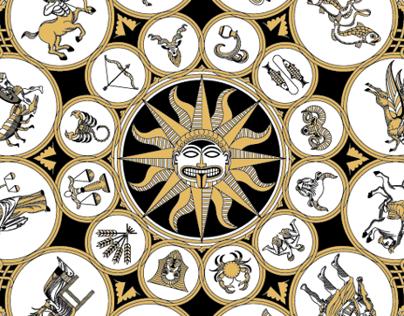 The Astrozodiac Calendar   Silksreen Poster