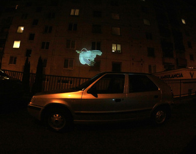 Slovenský beamvertising (mobile projection)