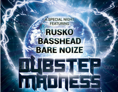 A5 Dubstep Madness Club Flyer / Poster 7 in 1 PSD