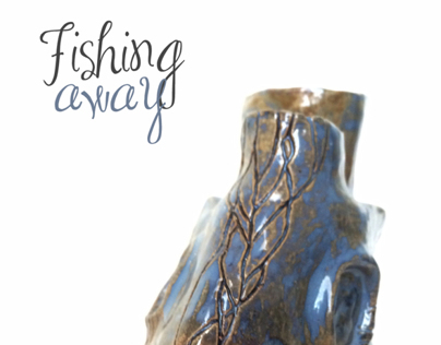 Fishing Away - ceramic vase