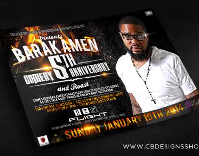 Barak Amen 5th Comedy Anniversary | Club Flyer Design