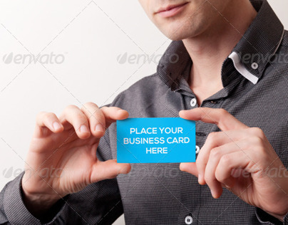 2 Photo-Realistic Business Card Mock-Ups PSD