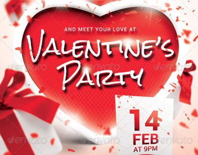 A5 Valentine's Party Flyer / Poster 5 in 1 PSD Template