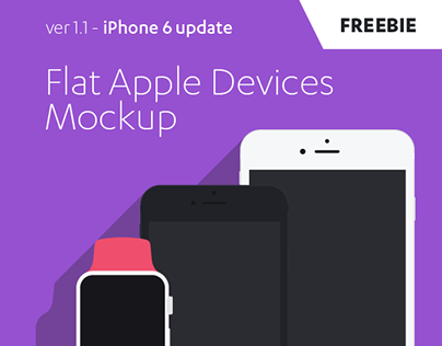 FREE Flat Apples Devices Mockup