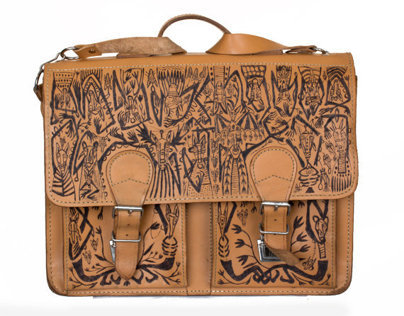 An unique, hand patterned leather briefcase by Tiensivu