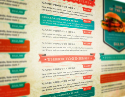 The Vintage Food Menu