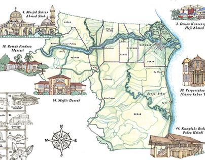 Illustrated Map of Pekan, Malaysia