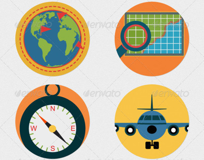 Mobile GPS Navigation Icons Flat Illustrations