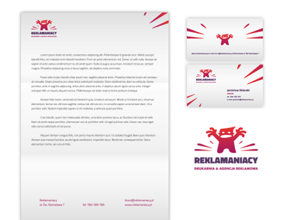 Reklamaniacy. Logo, stationery and landing page.