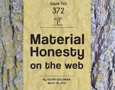 A LIST APART - Material Honesty on the Web